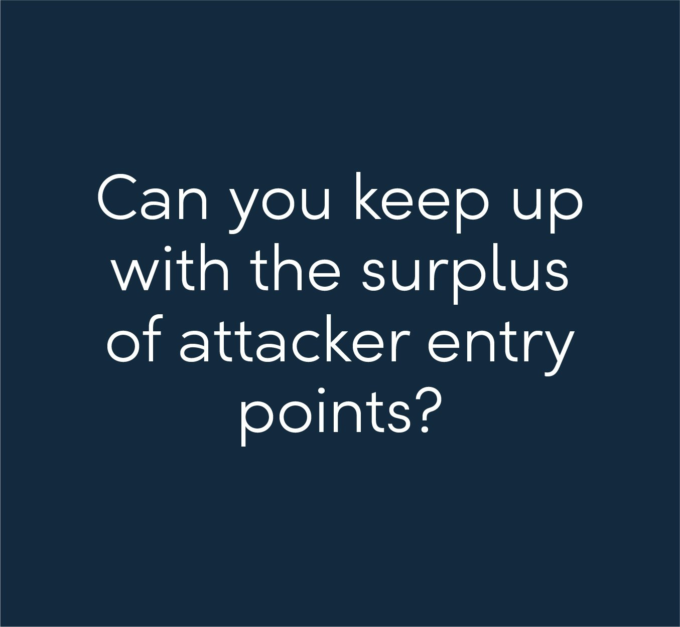 Can you keep up with the surplus of attacker entry points?